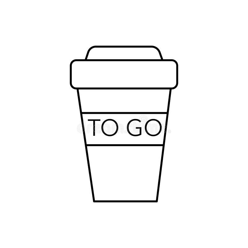 去的咖啡杯子传染媒介线象,标志,在背景,编辑可能的冲程的例证 库存例证