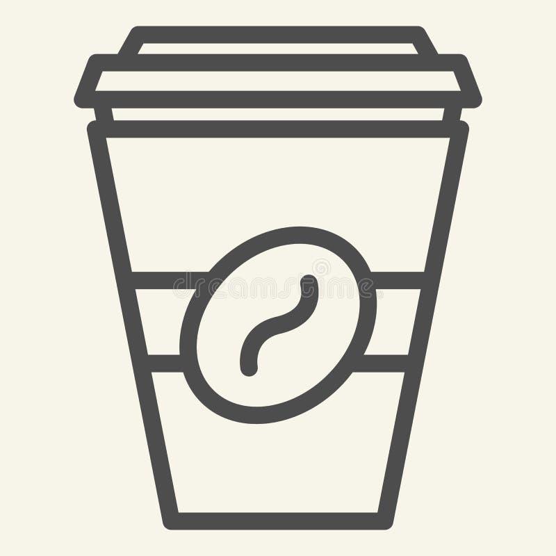 去的咖啡线象 在白色隔绝的一次性杯子传染媒介例证 Coffe外带的概述样式设计 库存例证