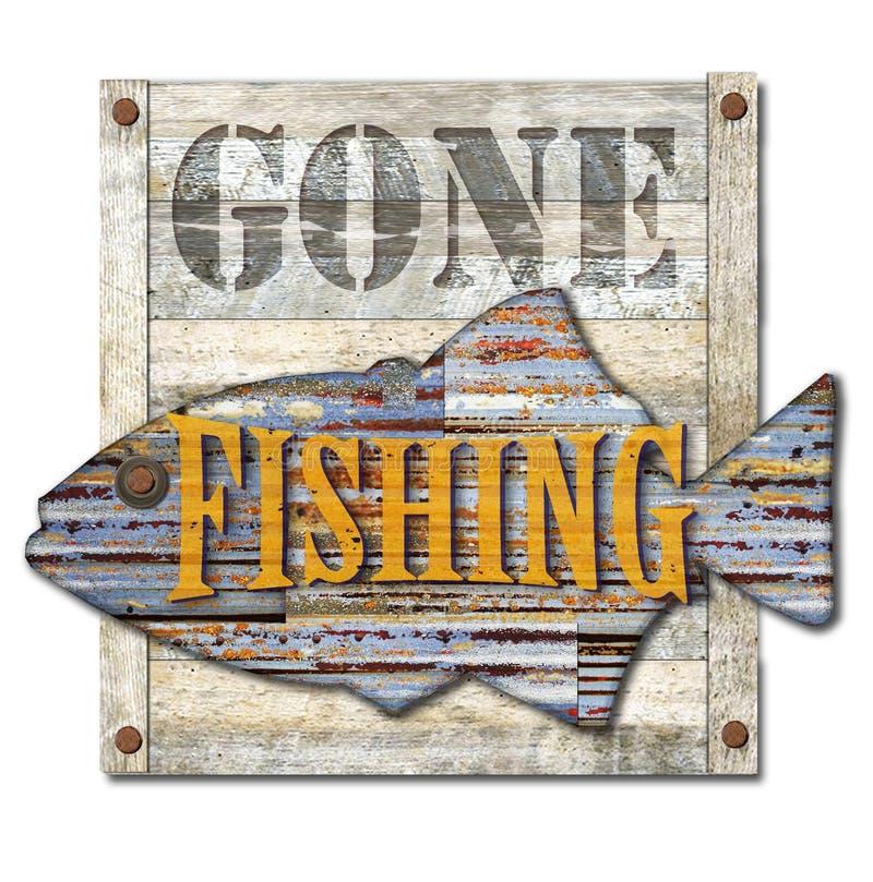 去的钓鱼的标志艺术 免版税图库摄影