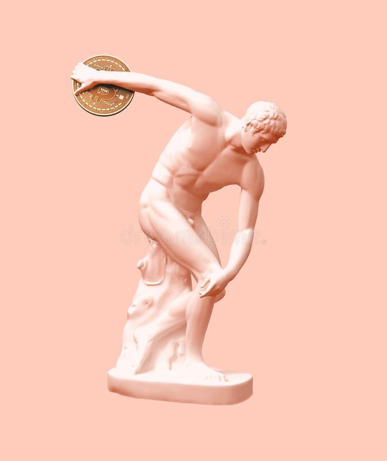 去的铁饼选手投掷在桃红色背景的Bitcoin 皇族释放例证