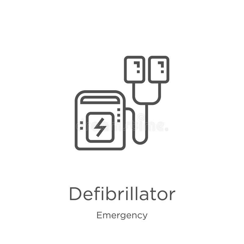 去纤颤器从紧急收藏的象传染媒介 稀薄的线去纤颤器概述象传染媒介例证 r 向量例证