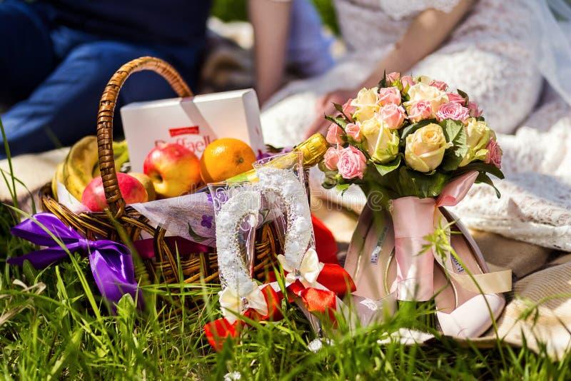 去野餐在草,野餐,酒,香槟,玻璃,瓶  免版税库存照片