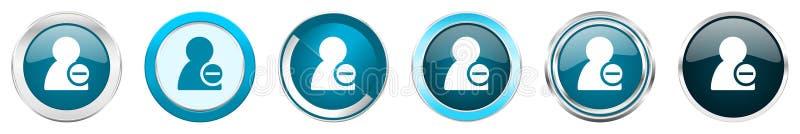 去除在6个选择的联络银色金属镀铬物边界象,被设置在白色背景隔绝的网蓝色圆的按钮 库存例证