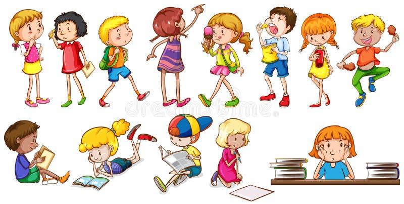 参与不同的活动的孩子 库存例证