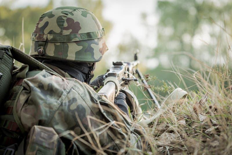 参与在军事演习的战士 库存照片