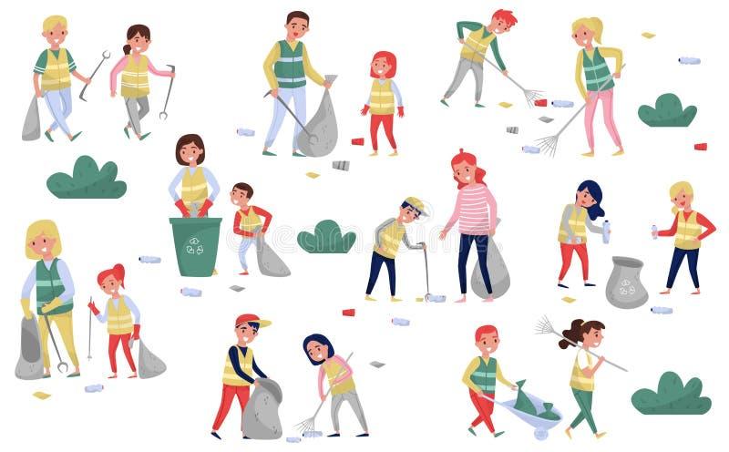 参与在无用单元收集的志愿者会集回收的集合垃圾和塑料废物,父母和孩子 皇族释放例证