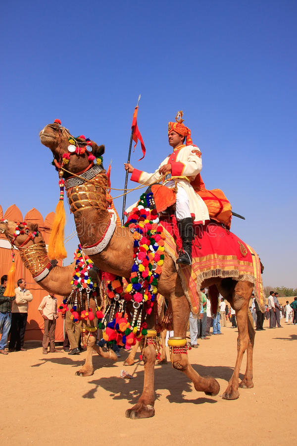 参与在骆驼队伍的地方人在沙漠节日, Ja 免版税库存照片