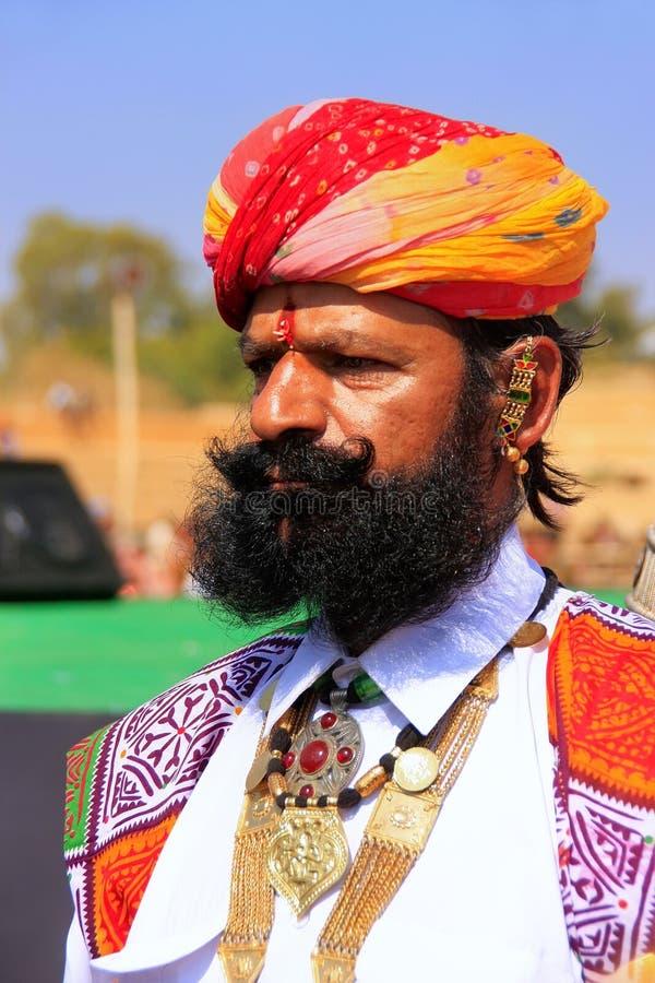 参与在Desert先生竞争, Jai中的印地安人画象 库存照片