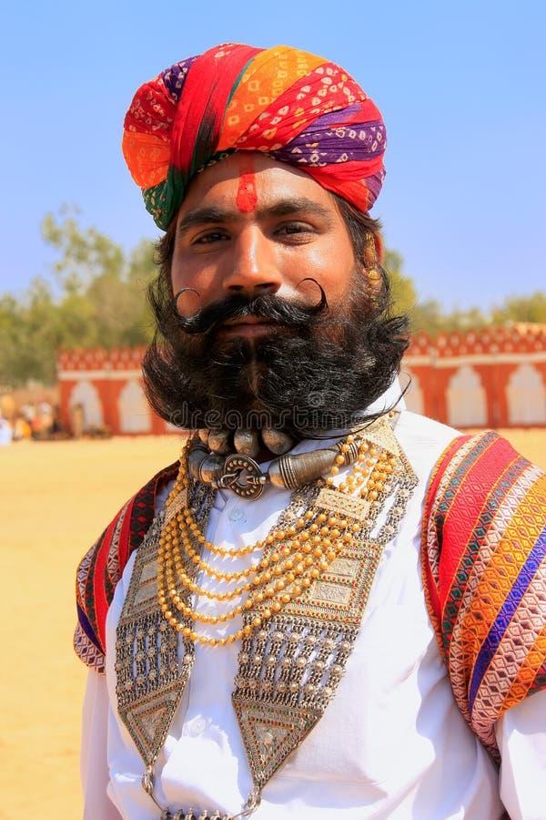 参与在Desert先生竞争, Jai中的印地安人画象 免版税库存图片