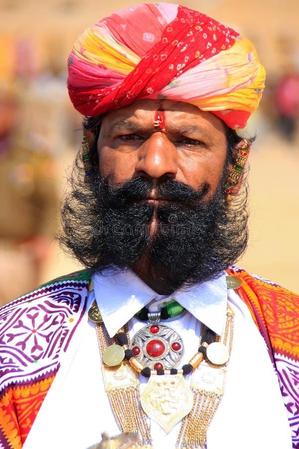 参与在Desert先生竞争, Jai中的印地安人画象 免版税库存照片