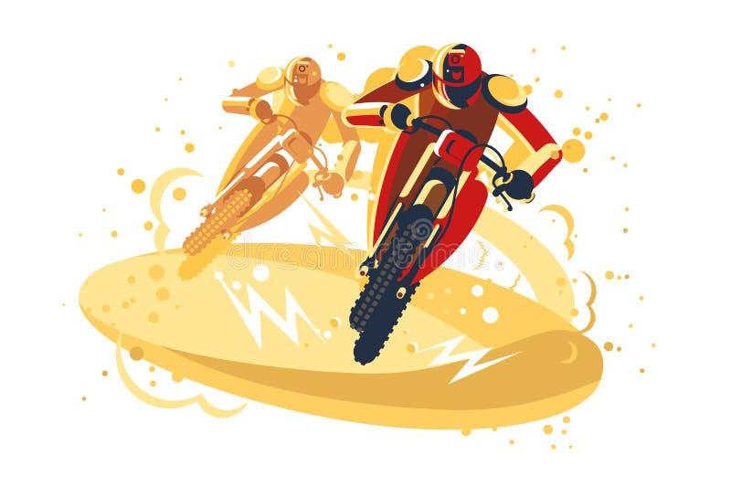参加乘坐的竞争的摩托车越野赛车手 向量例证