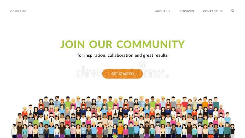 参加我们的公共 一起站立团结的人作为事务或创造性的社区人群  向量例证