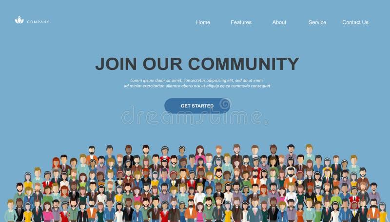 参加我们的社区 一起站立团结的人作为事务或创造性的社区人群  平的概念传染媒介网站临时雇员 向量例证