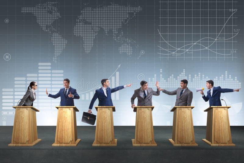 参加政治辩论的政客 免版税库存图片