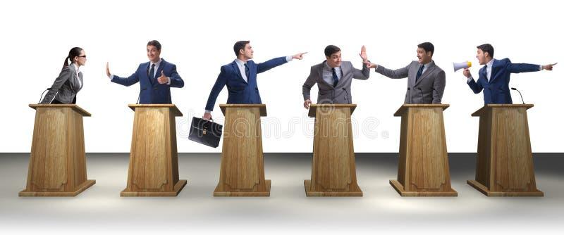 参加政治辩论的政客 库存图片
