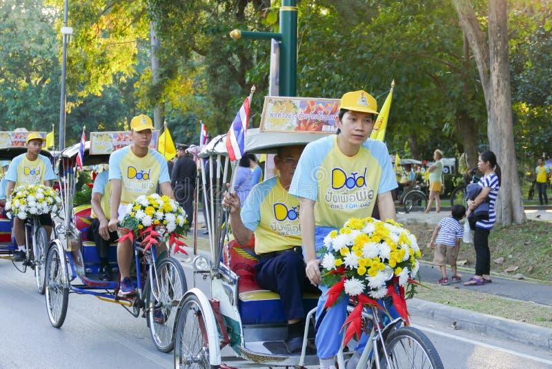 参加爸爸活动的自行车的人们 库存图片