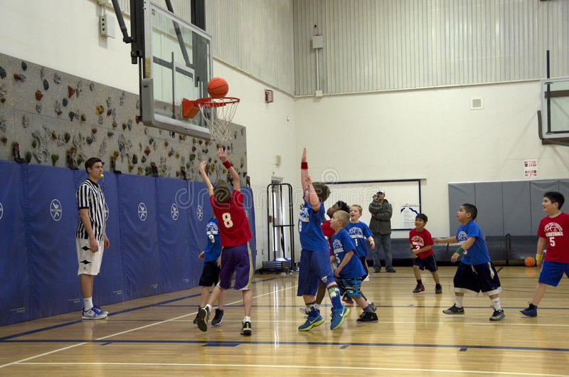 参加篮球比赛的孩子 库存照片
