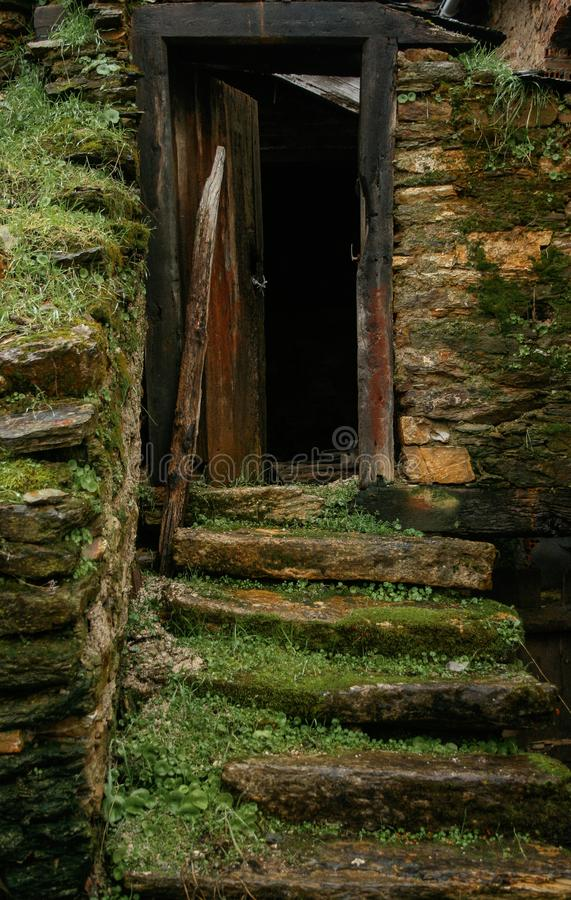参差不齐的石台阶在有草的一个老房子里和青苔和木门框 库存照片