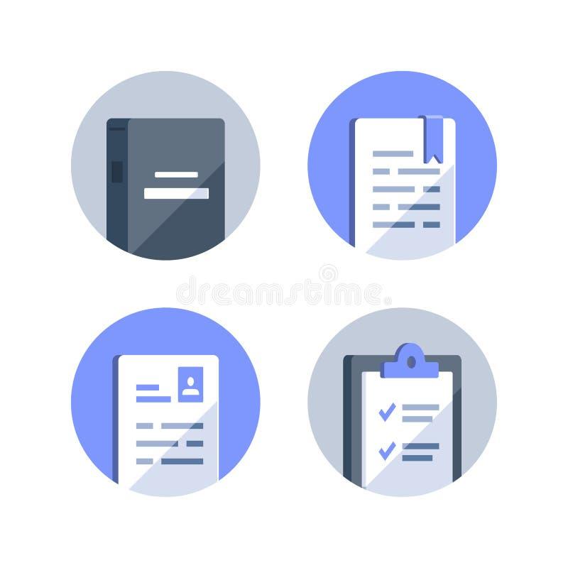 参考书,检查准备,学会路线,任务概念,书总结,申请书,清单剪贴板的主题 皇族释放例证