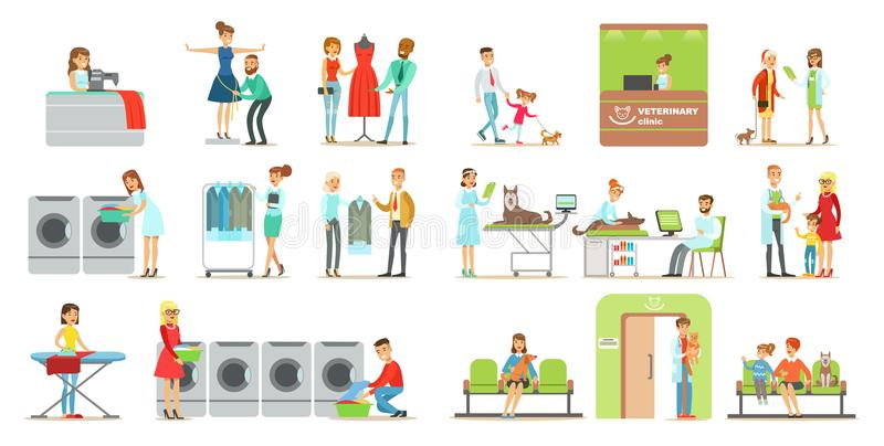 参观兽医诊所和洗衣店的客户购物,带来他们的宠物的人们治疗给兽医,内部 库存例证