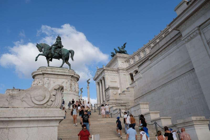 参观在广场Venezia的Vittoriano,罗马,意大利 库存图片