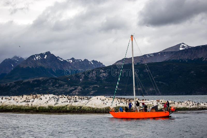 参观小猎犬渠道,当岩质岛的明亮的橙色风船居住由鸬鹚 阿根廷ushuaia 免版税库存图片