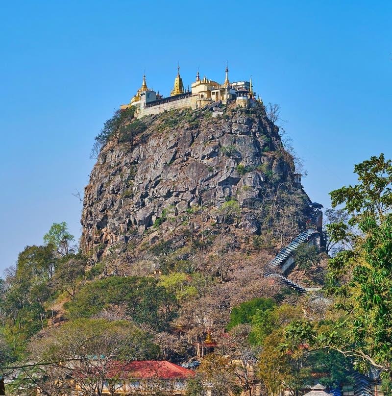 参观登上波帕岛,缅甸 免版税库存照片
