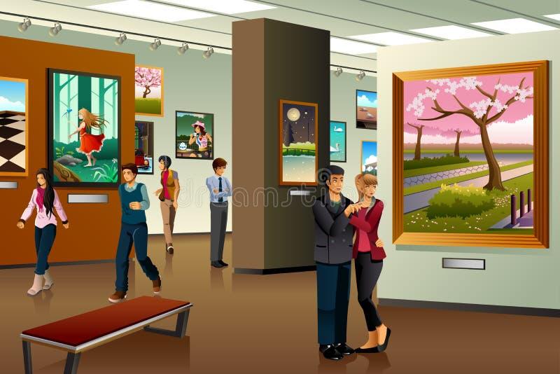 参观美术画廊的人们 向量例证