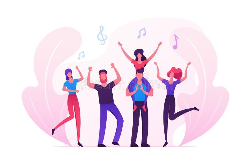 参观音乐事件的小组年轻人或音乐会、人和欢呼,跳舞和跳跃用手的妇女爱好者 向量例证