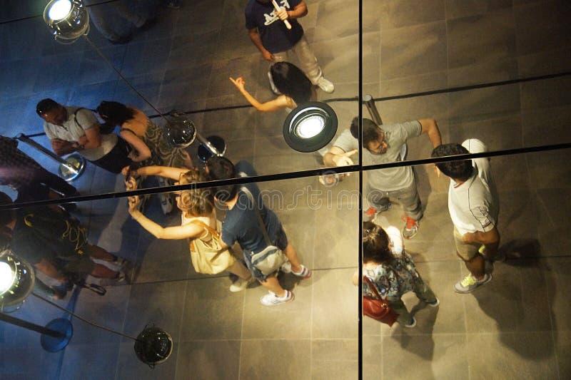 参观Museo Egizio,都灵,意大利的人们 图库摄影