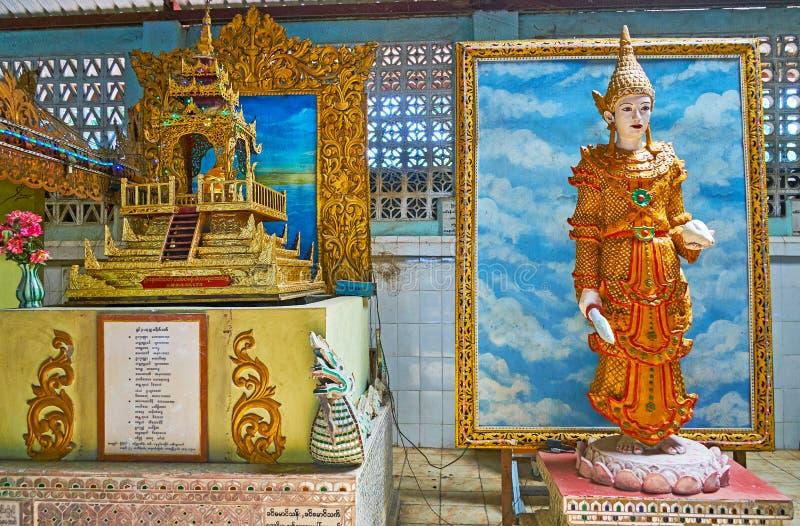 参观Ngar Htat Gyi菩萨寺庙,仰光,缅甸 免版税图库摄影