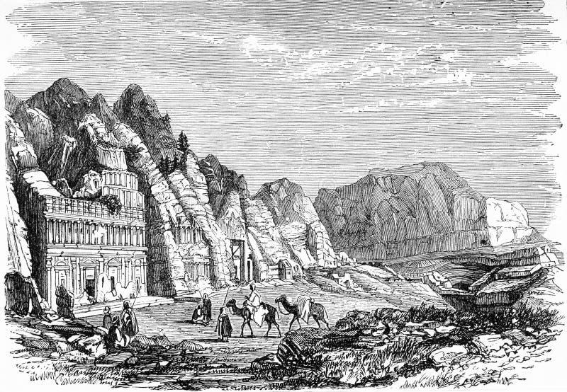 参观Petra古城的人们 库存例证