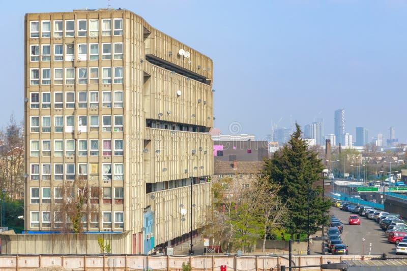 参议员住房块在东伦敦 库存照片