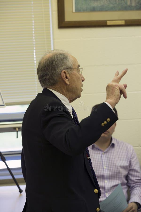参议院司法主席查尔斯格拉斯利演讲组成部分 免版税库存图片