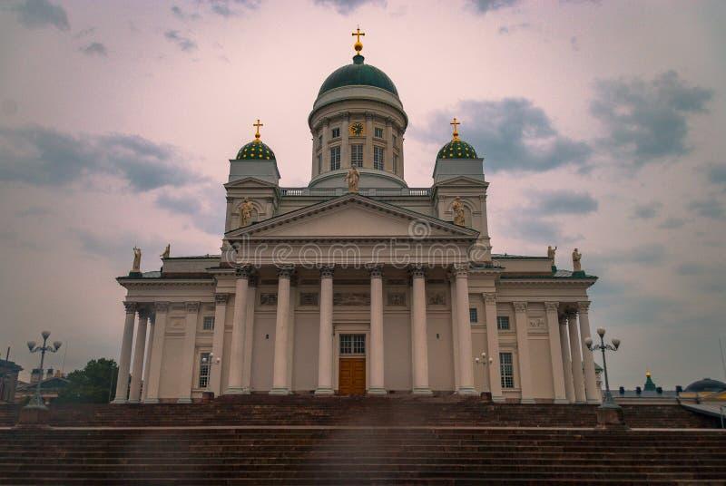 参议院正方形的教会在赫尔辛基芬兰 库存照片