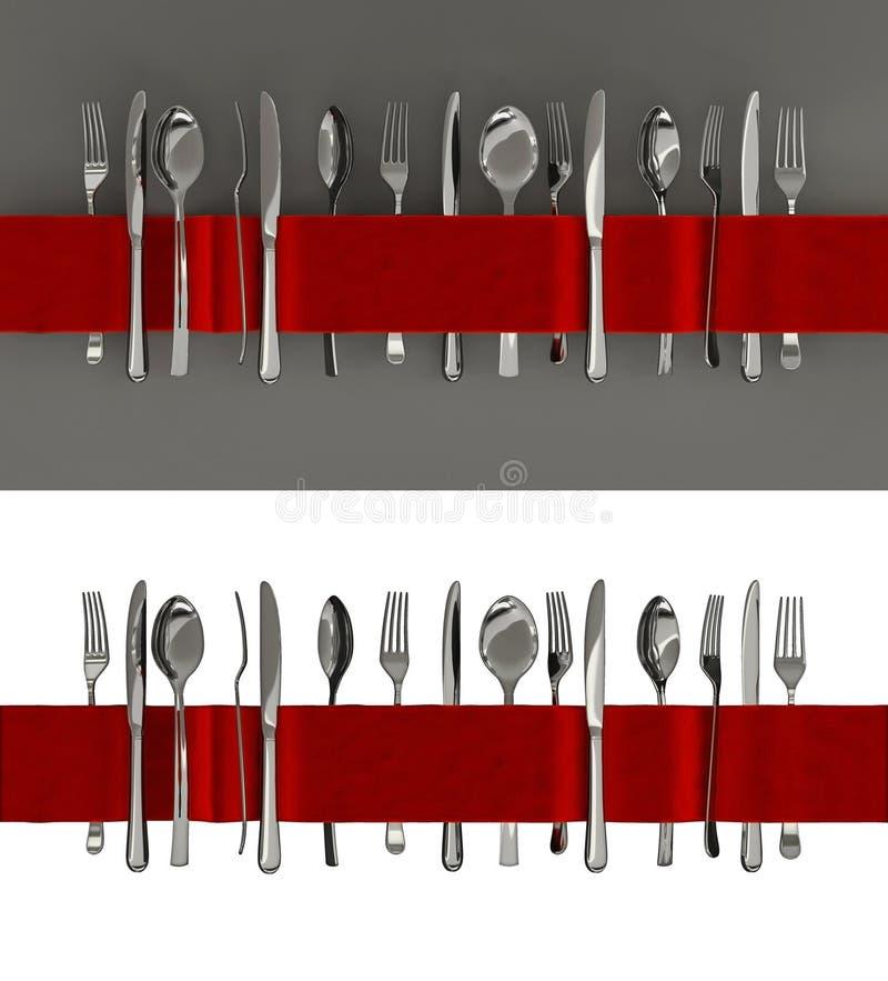 叉子、刀子和匙子横幅 向量例证