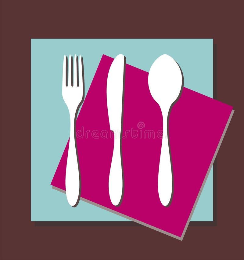 叉子刀子匙子桌布 库存例证