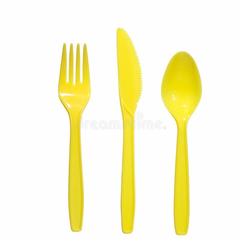 叉子刀子匙子黄色 图库摄影