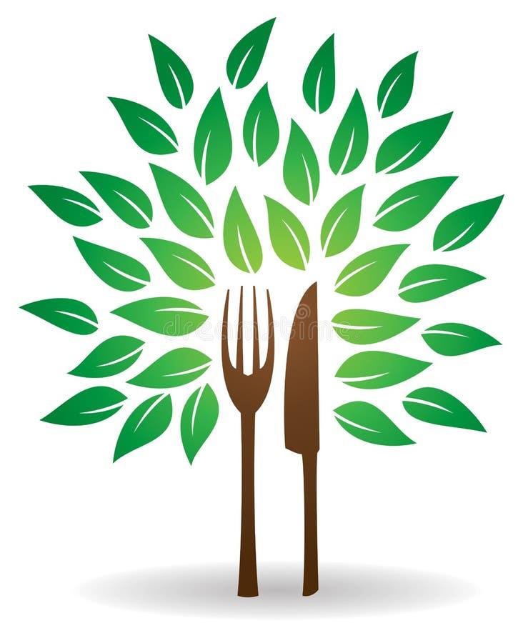 叉子刀子树商标 库存例证