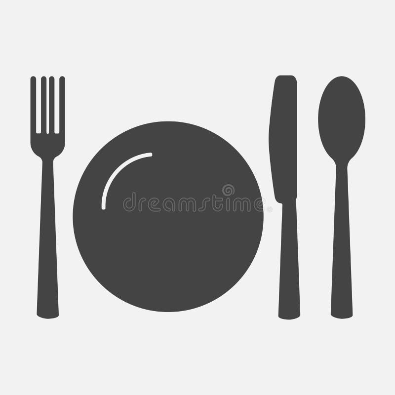 叉子刀子牌照匙子 刀叉餐具 制表设置 传染媒介ico 皇族释放例证