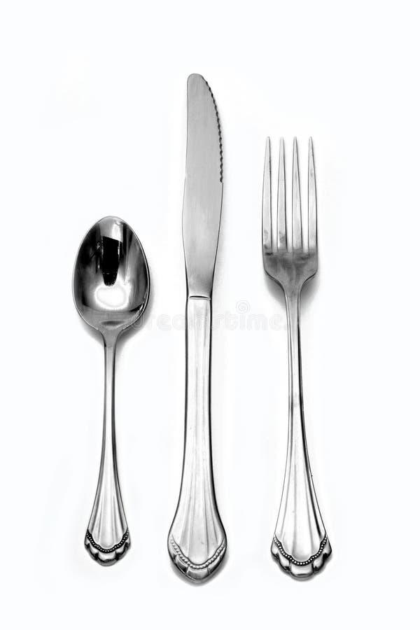 叉子刀子银器匙子 免版税库存照片