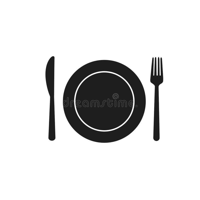 叉子匙子刀子吃利器餐馆的板材咖啡馆吃白色背景的黑餐厅 向量例证