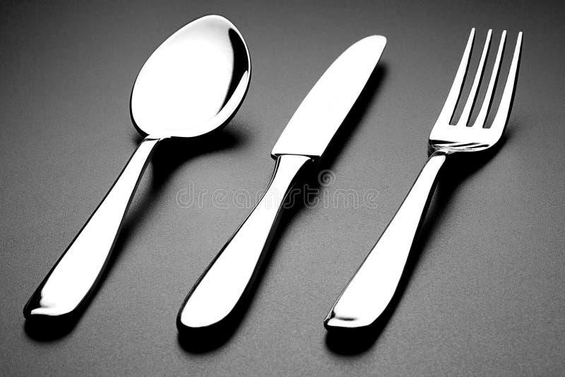 叉子匙子和刀子 免版税库存图片