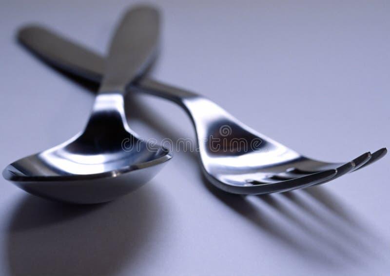 叉子匙子 免版税库存照片