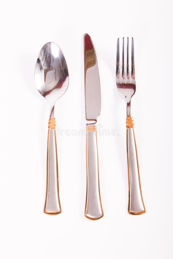 叉子厨刀匙子三器物 免版税图库摄影