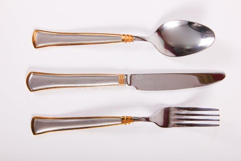 叉子厨刀匙子三器物 免版税库存图片