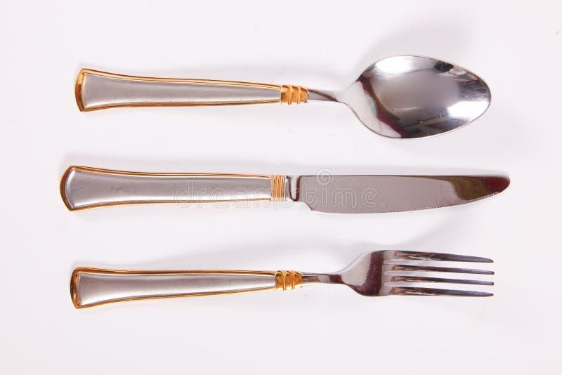 叉子厨刀匙子三器物 免版税库存照片