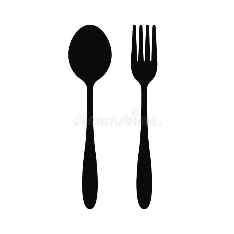 叉子和匙子图标向量 库存例证