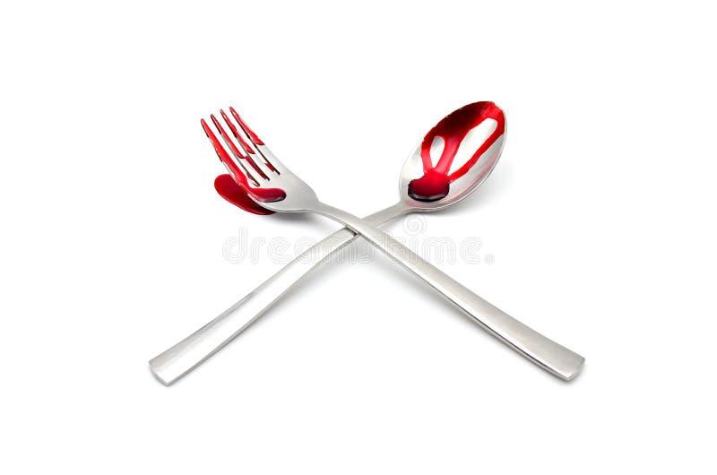 叉子和匙子有血液的 图库摄影