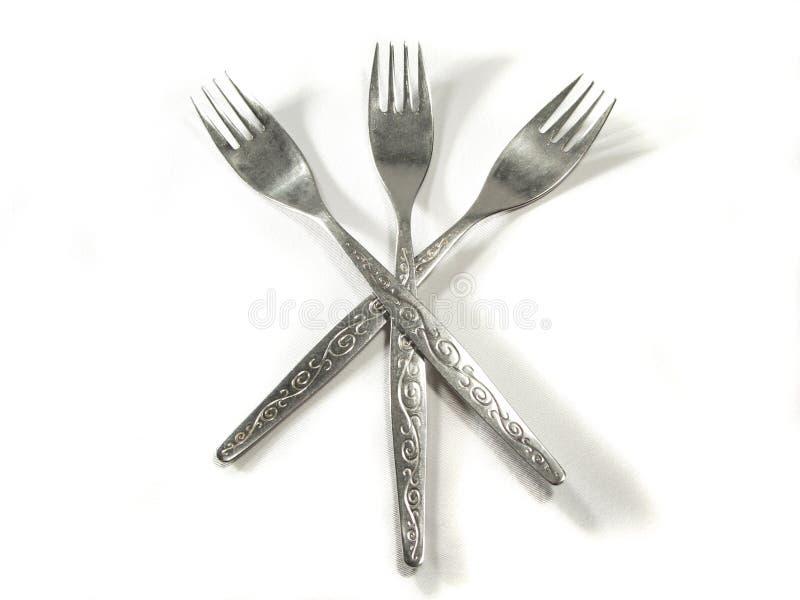 叉子查出的金属银白色 免版税库存照片
